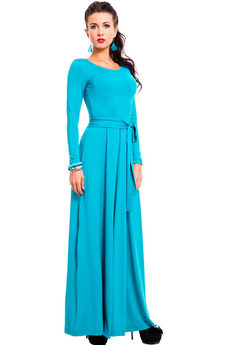 Длинное платье бирюзового цвета Mondigo