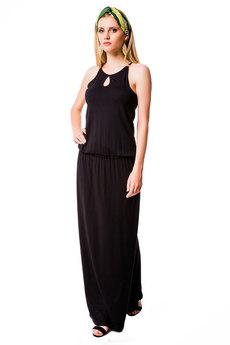 Черное длинное летнее платье Mondigo