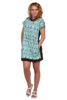Бирюзовое короткое платье ElenaTex